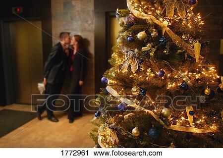 A Christmas Kiss.A Christmas Kiss Stock Image