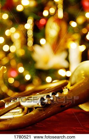 Christmas Trumpet Images.A Trumpet At Christmas Time Stock Image