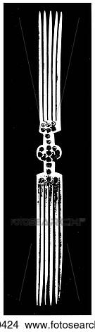 Signs & Symbols - line art Africa A comb carved in bone