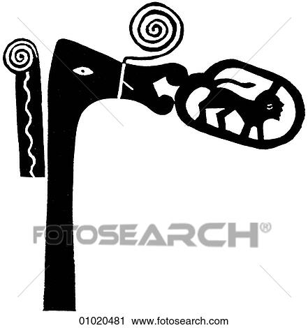 Clipart Of Signs Symbols Line Art Africa Ceremonial Staff