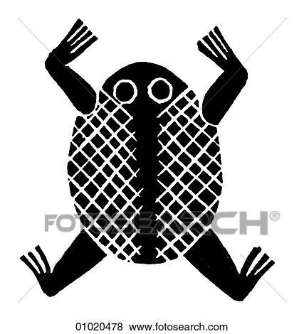 Stock Illustration Of Signs Symbols Line Art Africa Frog Relief