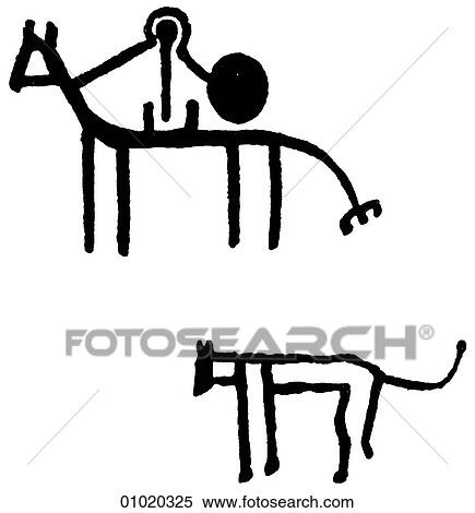 Stock Illustration Of Signs Symbols Line Art Africa Pre Historic