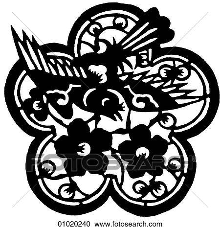 Signs Symbols Line Art China Birds And Floral Forms