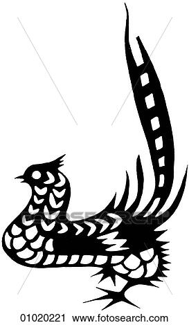Clipart Of Signs Symbols Line Art China The Pheasant Symbolizes