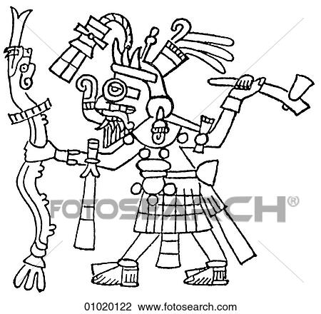 Clip Art Of Signs Symbols Line Art The Americas The Mayan