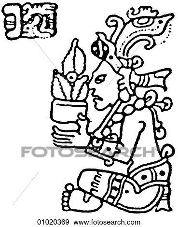 Stock Illustration Of Signs Symbols Line Art The Mayan Religion