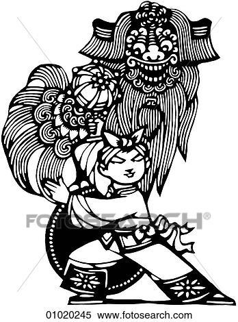 Stock Illustration Zeichen Symbole Strichzeichnung China