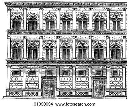 zeichnungen architektur italien strichzeichnung erh hung renaissance teil dass. Black Bedroom Furniture Sets. Home Design Ideas