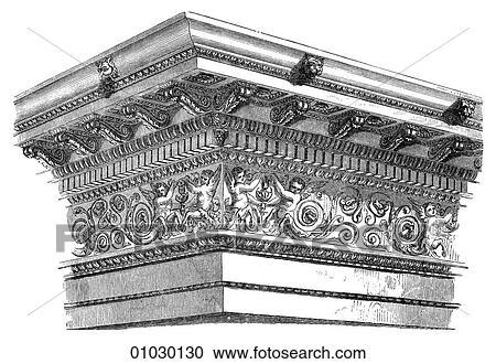 Architecture - Ancient Rome - line art Detail Classical