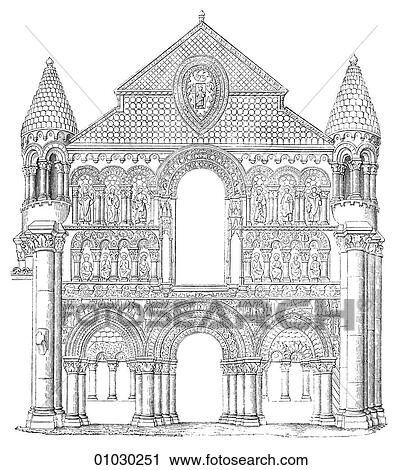 Architecture Germany Line Art Elevation France Romanesque Notre Dame La Grande At Poitiers Romanesque A Style Of Architecture Prevalent In Europe From The 10th To Early 13th Century Characterized