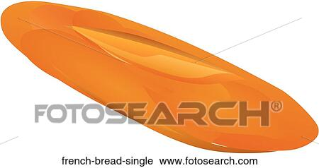 Clipart Of French Bread Single