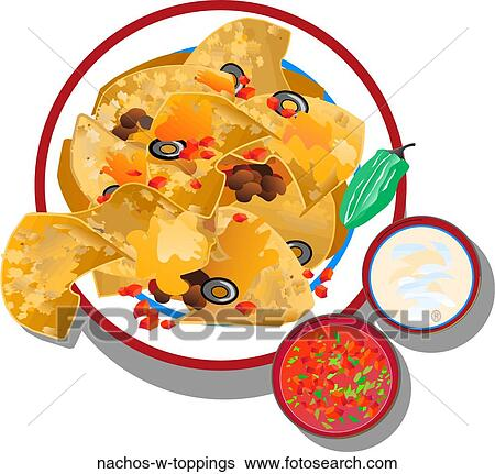 stock illustration of nachos w toppings nachos w toppings search rh fotosearch com Cartoon Nachos Cartoon Nachos
