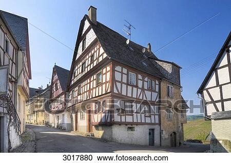 Half-timber, 家, 中に, enkirch...