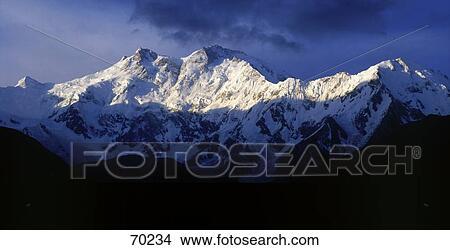 Sunlight on snowcapped mountain, Nanga Parbat, Himalayas, Pakistan Picture
