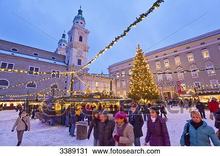 Salzburg Christmas Market.Christmas Market And Salzburg Cathedral Salzburg Austria Stock Image