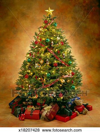 Lighted Christmas Tree With Ornaments And Presents