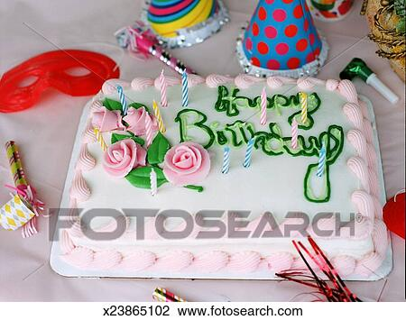 Stock Photo Of Birthday Cake With Candles Elevated View X23865102