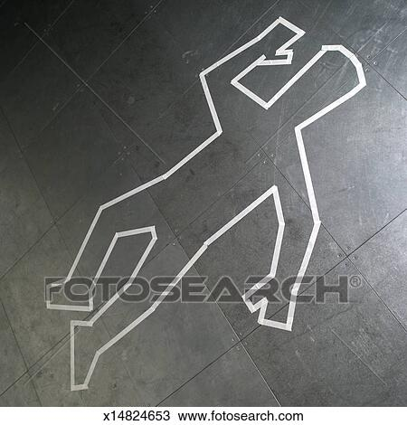 Chalk Outline Of Dead Body On Pavement