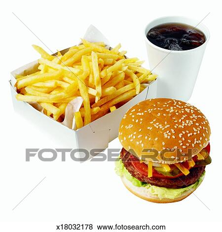 Close Up Of Burger And French Fries With Cold Drink Stock