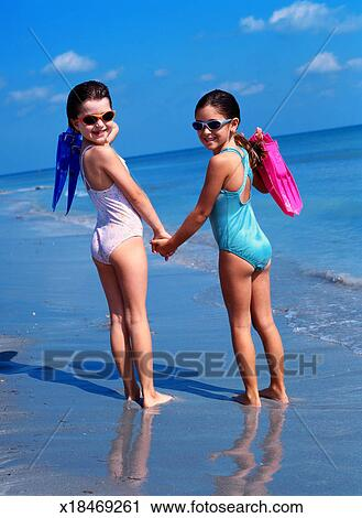 Young girls at beach