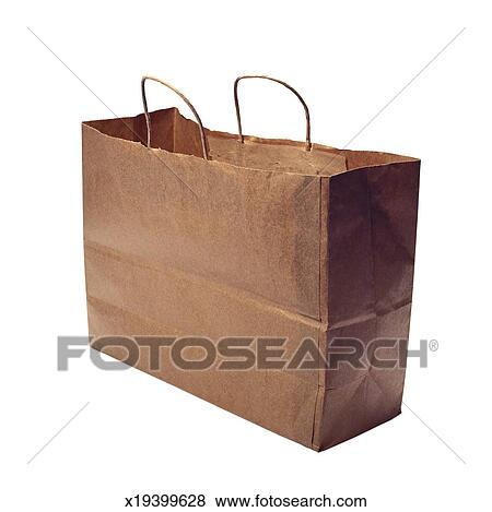 An empty brown paper carry bag Stock Photo | x19399628