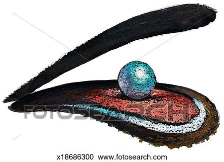 Stock Illustrations of Pearl in Oyster x18686300 - Search ...