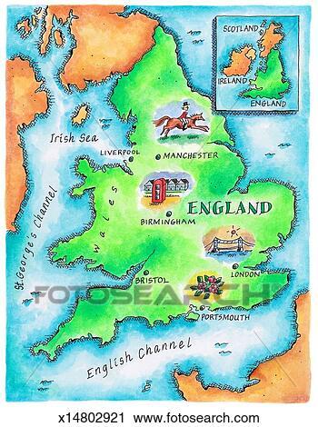 Carte Dangleterre.Carte De Angleterre Clipart X14802921 Fotosearch