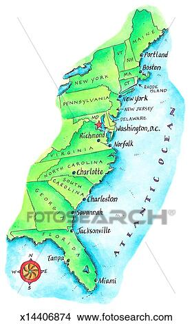 Map of American East Coast Stock Illustration