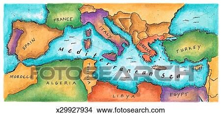 Drawings of Map of Mediterranean Sea x29927934 - Search Clip Art ...