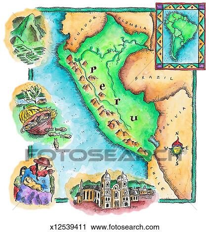 Clipart of Map of Peru x12539411 - Search Clip Art, Illustration ...