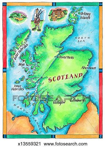 Map Of Scotland Clip Art X13559321 Fotosearch