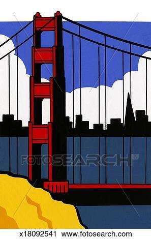 Dessin Du Pont De San Francisco clipart - pont porte or, san francisco, californie, usa. x18092541