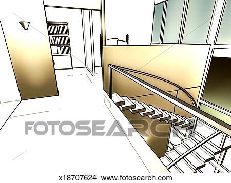 Dessins escalier moderne int rieur maison x18707624 recherche de clip arts d - Dessin d interieur de maison ...