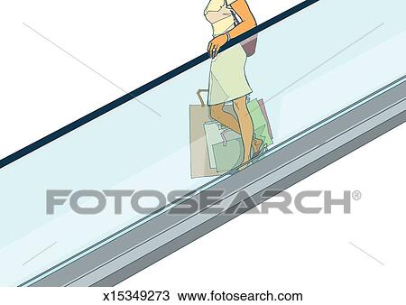 Drawing Of Woman With Shopping Bags Riding Escalator X15349273