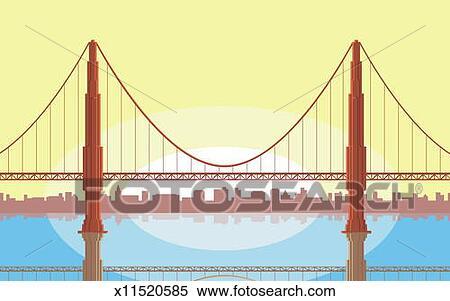 Dessin Du Pont De San Francisco banque d'illustrations - usa, californie, san francisco, pont porte