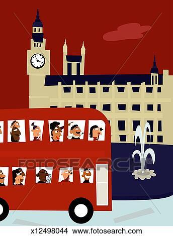 写真素材・動画素材・イラスト素材イギリス ロンドン バス 旅行 運転 を過ぎて ビッグベン フォト