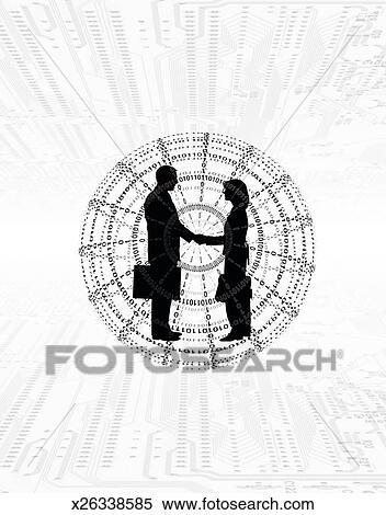 Stock Illustration Of Handshake In Globe X26338585