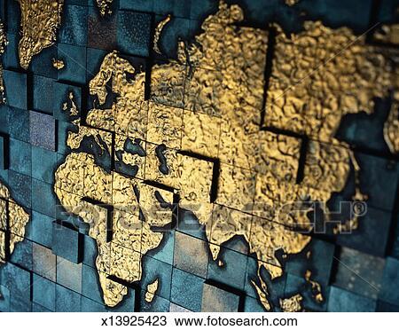 Carreau Carte Projection Asie Europe Et Afrique Dessin