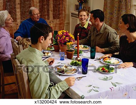 Stock Photo Of Family Eating A Thanksgiving Dinner X13200424
