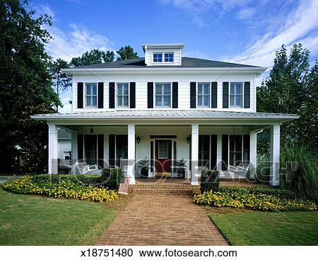 Front Porch Clipart stock photography of white wooden house, flowers blooming around