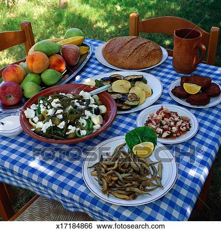 Stock afbeeldingen griekse maaltijd x17184866 zoek stockfotografie poster foto 39 s beelden - Hoek maaltijd ...
