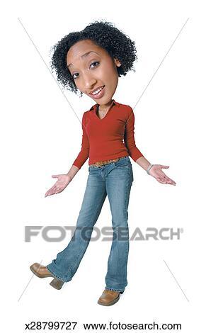 promo code d8ff5 7247e Caricatura foto, di, uno, giovane, africano american donna, in, jeans, e,  uno, camicia rossa, come, lei, calci, su, lei, piede, e, alzata spalle ...