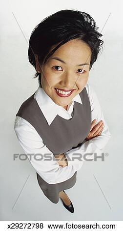 Asian lady in white collar