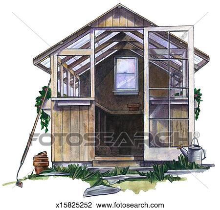 Clip Art of Greenhouse x15825252 - Search Clipart ...