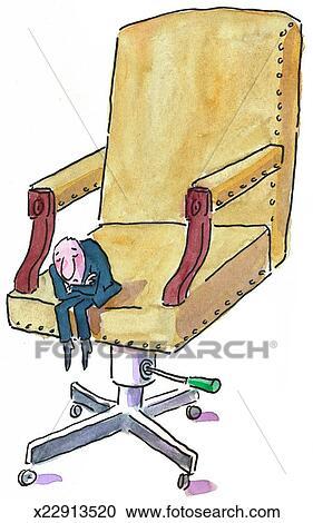 Banque d illustrations - petit homme, dans, a, grande chaise ... 343cbce24535