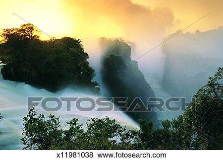 Victoria Falls Devil S Cataract Zimbabwe Africa Stock