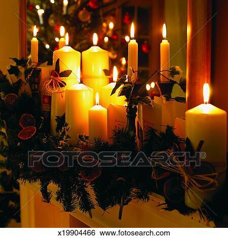 banque d 39 images bougies et d corations no l sur a. Black Bedroom Furniture Sets. Home Design Ideas