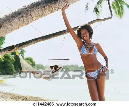 Male bikini beach model hammock