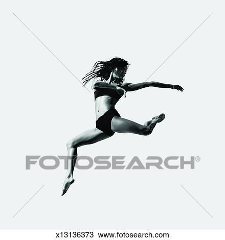 Weiblicher tänzer, mit, sie, beine auseinander, seitlich