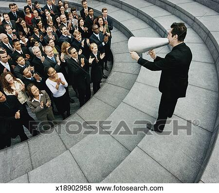 Pictures of Businessman Standing on Steps Outside Talking ...
